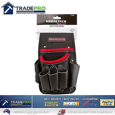 Electricians Tool Pouch Medaltech® Nail Bag 2 Pockets 5 Leather Tool Slots Apron