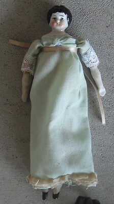 """Vintage 1890s Germany China Head Bisque Cloth Girl Character Doll 7 1/2"""" Tall"""