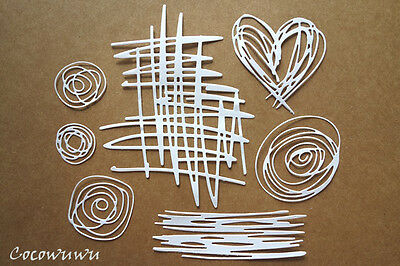 Selection of Scribble Die cuts x 7 Embellishment Cardmaking Scrapbooking Love Ch