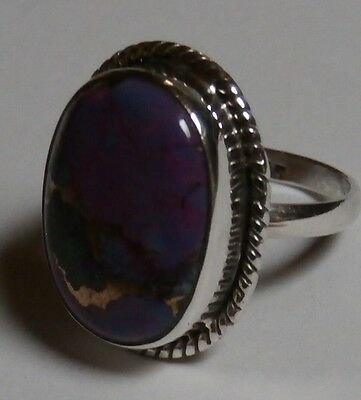 Sterling Silver Genuine Purple Copper Turquoise Ring  Size ~ N 1/2  (US 7)