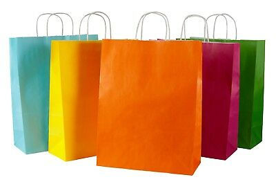 25 Coloured Twisted Handle Kraft Paper Carrier Bags