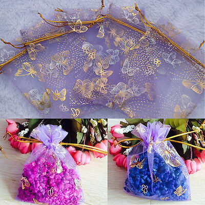 """25Pcs Organza Gift Bags Jewellery Drawstring Pouches Wedding Party Candy 3""""x4"""""""