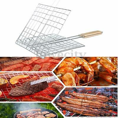 Wooden Handle Barbecue Grill Basket Fish Meat Vegetables Cookware Wire Mesh