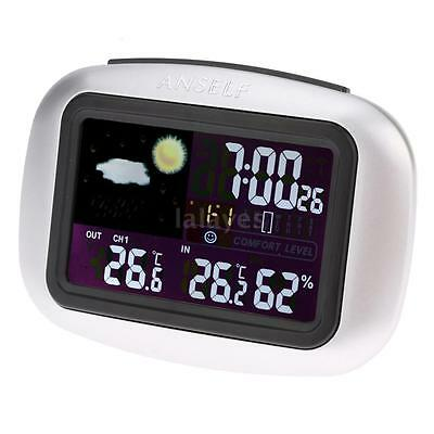 Wireless Weather Station Clock Indoor Outdoor Thermometer Hygrometer Alarm H0X6