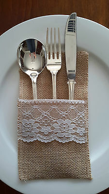 10 x Vintage Rustic Burlap Hessian Cutlery Holder with White Lace - Wedding