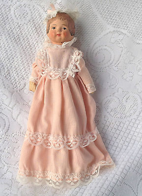 "Antique (1920s?) Straw filled/stuffed  doll - 11"" Tall  # R3K No Reserve! (195)"