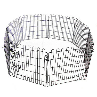 """24"""" 30"""" Pet Cage Playpen Outdoor Dog Cat Exercise Wire Mesh Pen 8 Panel Fence"""