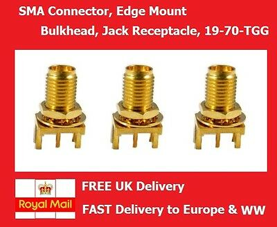 SMA Connector Edge Mount Bulkhead Jack Receptacle RFCoaxial 50ohm 18GHZ
