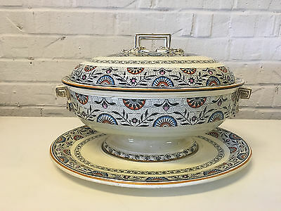 Antique 1870's Wedgwood Pottery Rare Multi-Color Mistletoe Pattern Large Tureen
