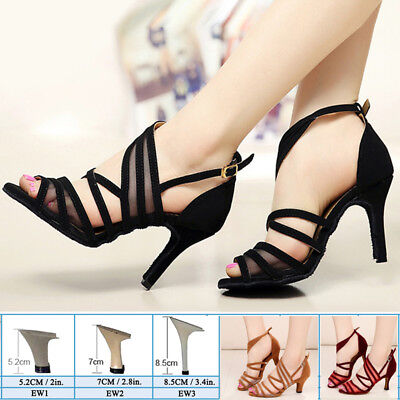 Womens Modern Tango Latin Ballroom Salsa Dance Shoes Ladies Lace Heels Size 3-11