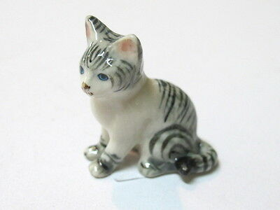 Hand Painted Miniature Collectible Ceramic Porcelain Gray Siamese Tiger Cat