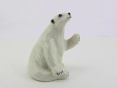 Hand Painted Miniature Collectible Ceramic Polar Bear Figurine