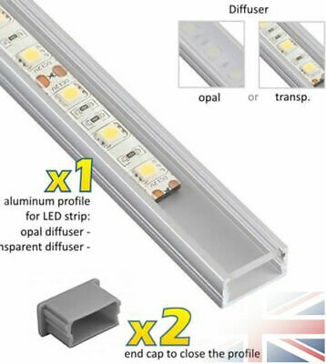 1-2m Aluminium LED LineMini Profile 5050 5630 3528 Strip Lights White Black Xmas
