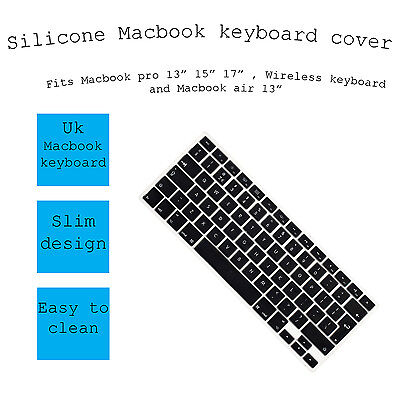 "Black Silicone Keyboard Cover Skin for Apple Macbook Pro / Air 13"" 15"" 17"""