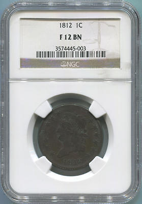 1812 Classic Head Large Cent. NGC F12 Brown.