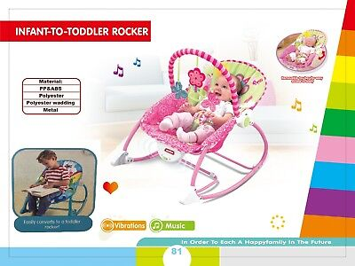 2 In 1 Baby Girl Chair Musical Vibration Soothing Rocking Adjustable Position UK