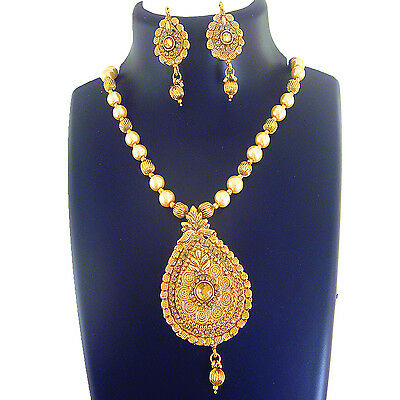 Ethnic Indian Jewelry Necklace Bridal Gold New Bollywood Traditional Fashion Set