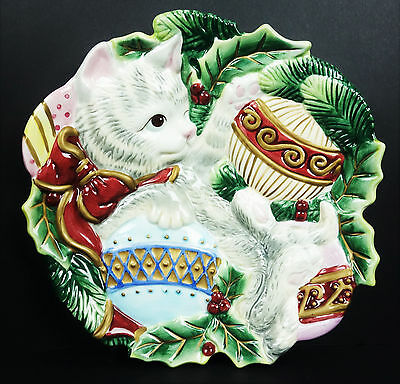 """Fitz & Floyd Christmas Cat Kitty Rose Canape Plate Wall Decor in Box Holiday 9"""""""