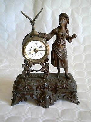 early 1900s French Spelter mantle clock nice movement