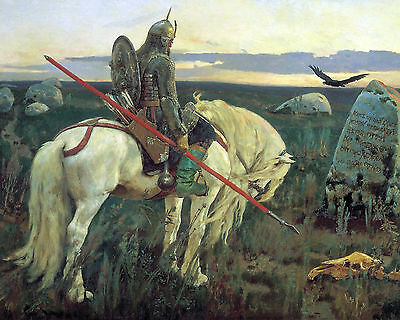 Germanic Tribe Knight On Horse German Viking Painting Canvas Giclee Art Print