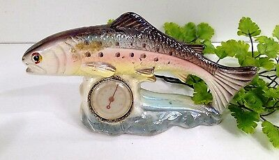 Antique Ceramic Rainbow Trout Fish Shaped Thermometer Stamped Foreign Rare!!