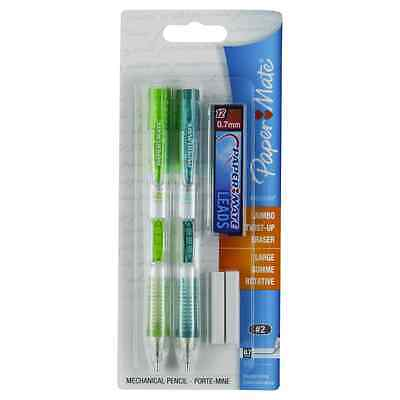 Paper Mate Clear Tip 0.7mm Mechanical Pencil Starter Set 2 Pencils (Colors Vary)