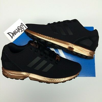 new arrival ecb7a b2b74 WOMENS ADIDAS ZX Flux Black Copper S78977 Torsion New Limited Rose Gold 6  6.5 10