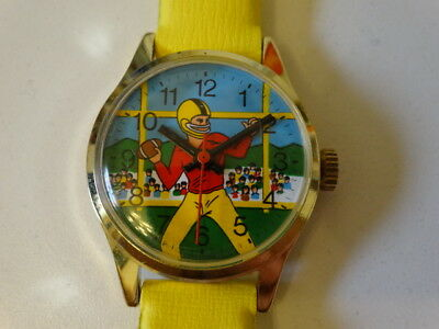 Lot of 17 Vintage 1960s Football Animated Character Wind up Wrist Watch NOS Asis