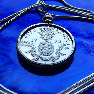 """Bahamas Hibiscus Square Coin Jewelry Pendant on 30/"""" 925 Silver Snake Chain"""