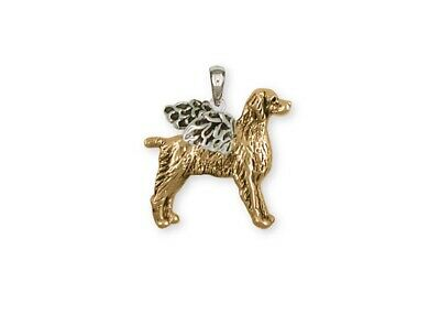 Brittany Dog Pendant 14k Two Tone Gold Vermeil Dog Jewelry BR7-APVM