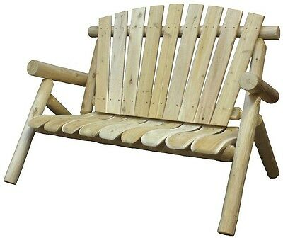 Patio Love Seat Solid White Cedar Wood Rustic Bench Porch Deck Backyard  Outdoor