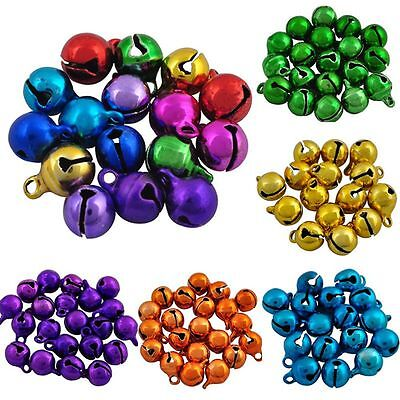 100pcs/lot Multicolor Iron Beads Jingle Bells Christmas Decoration Small Pendant