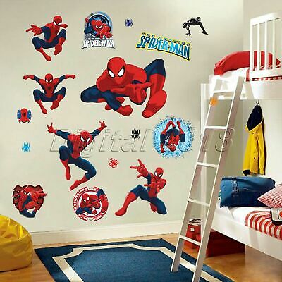 Super Hero Spiderman Kids Room Decor Boy Gift Wall Stickers Art Decals Wallpaper