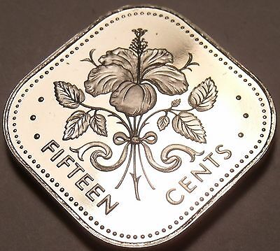 Rare Proof Bahamas 1977 15 Cents~Triangle Coin~Hibiscus~11,000 Minted~Free Ship