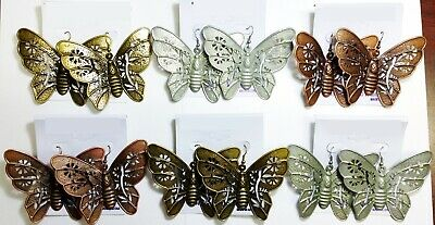 Lot Of 6 Pair Of Large Butterfly Earrings Metal Copper Gold Silver Drop Dangle