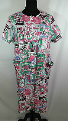 Vintage Light Duster Robe House Coat Travel Hotel Themed Pockets Button Up Front