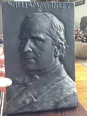 WILLIAM MCKINLEY Iron President-ial Campaign Sign Plaque 1896 Bust Metal Bronze
