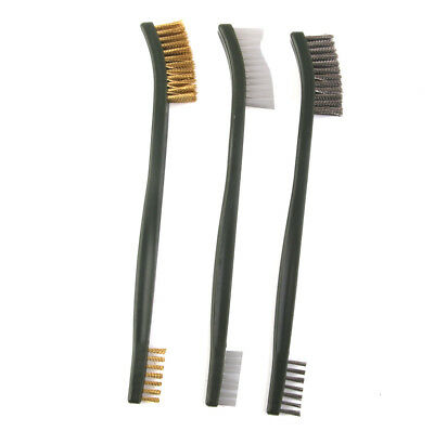 Set of 3pcs Wire Brush Brass Nylon Stainless Steel Bristle Cleaning Tool