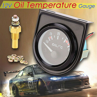 "Car Truck Vehicle Black 2"" 52mm LED Pointer Indicator Oil Temp Temperature Gauge"