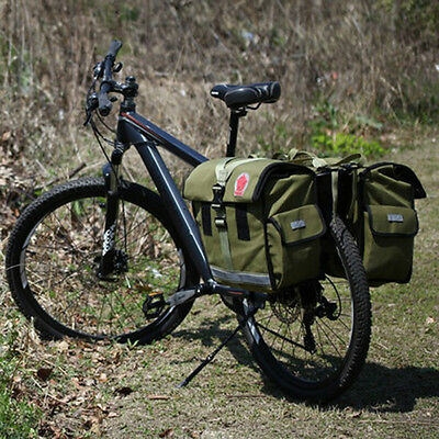NEW Bike Waterproof Canvas Bicycle Cycling Rear Seat Double Panniers Bag Green