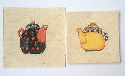 2 Cross Stitch pieces of Tea Pots (242)