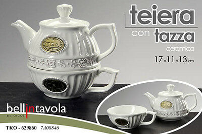 Set Da The Teiera Con Tazza Ceramica Bianca English Vintage 17*11*13 Tko 629860
