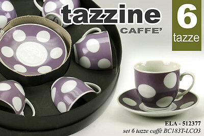 SET 6 TAZZINE + PIATTINO TONDO DA CAFFè DECORO POIS COLOR ASSORTITE ELA 512377