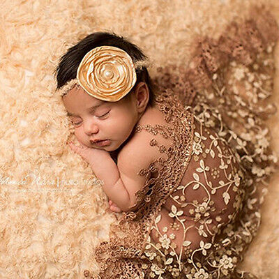 Newborn Baby Boys Girls Lace Tassel Photography Scarf Quilt Photo Prop Kawaii