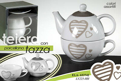 Set Da The Teiera Con Tazza E Piatto Porcellana Decoro Cuori Beige Ela 653742
