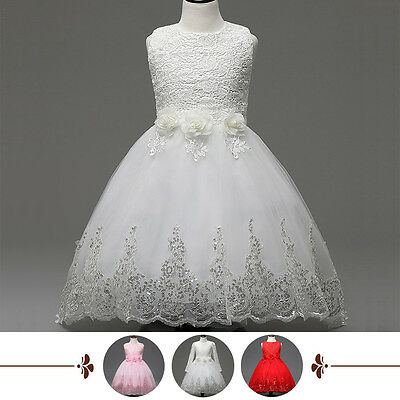 Flower Girl Kids Lace Tulle Dress Princess Party Wedding Bridesmaid Formal Gown