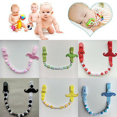 Moustache Dummy Pacifier Clip Chain Holder Soother Strap For Toddler Baby Kids