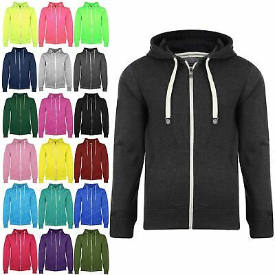 New Kids Plain Childrens Zip Up Fleece Boys Sweatshirt Hoody Jacket Hoodie Top