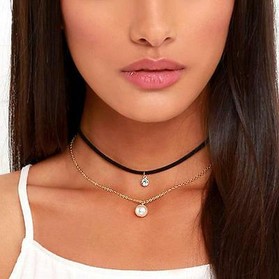 Charm Velvet Rope Choker Pearl Crystal Pendant Double Chain Necklace Jewelry