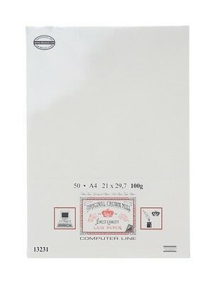 Crown Mill A4 Watermarked 50xPaper Creme Verge-Ribbed